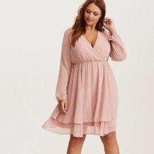 Torrid blush textured chiffon skater pink dress 1x